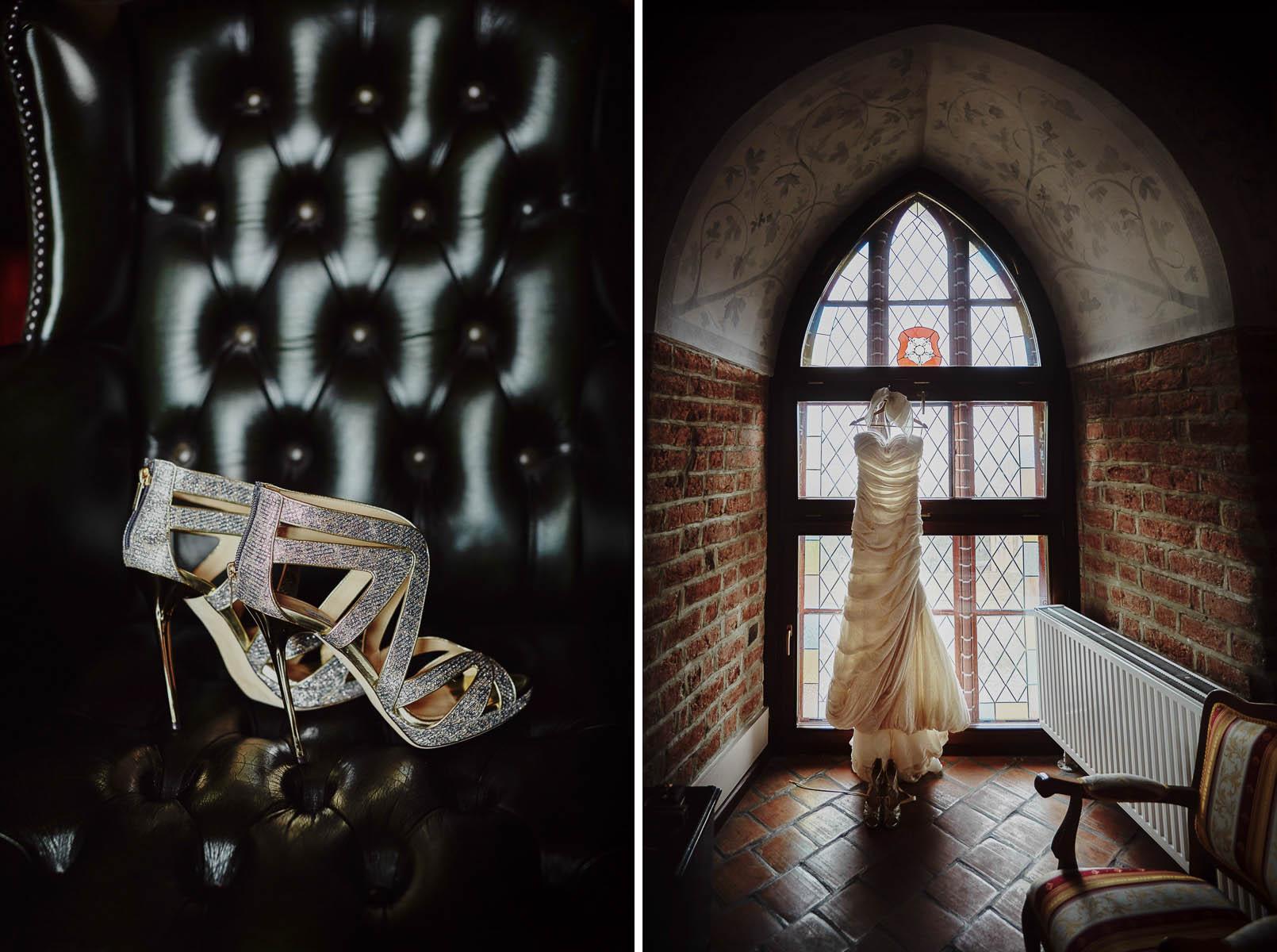zamek Gniew - niesamowita suknia ślubna i buty