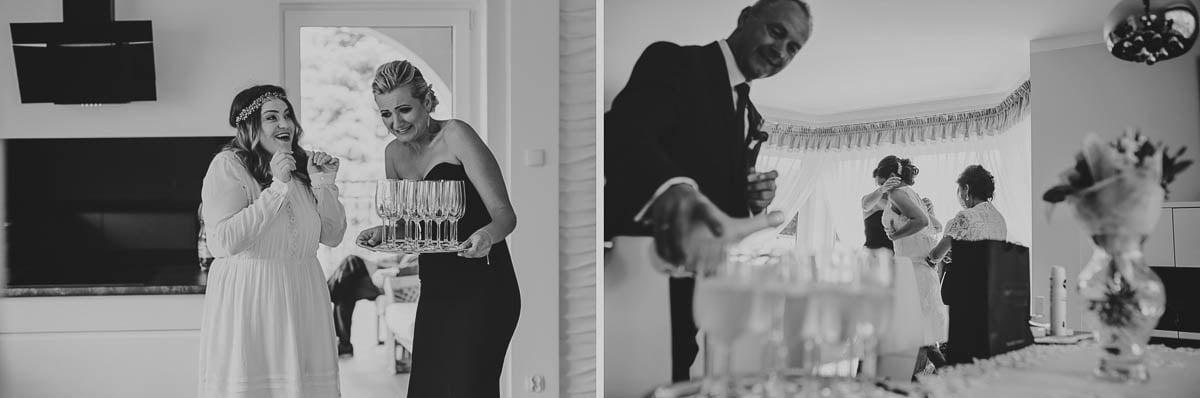 przygotowania, szampan przed ślubem