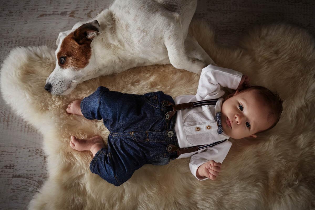 sesja rodzinna Świnoujście - dziecko z psem