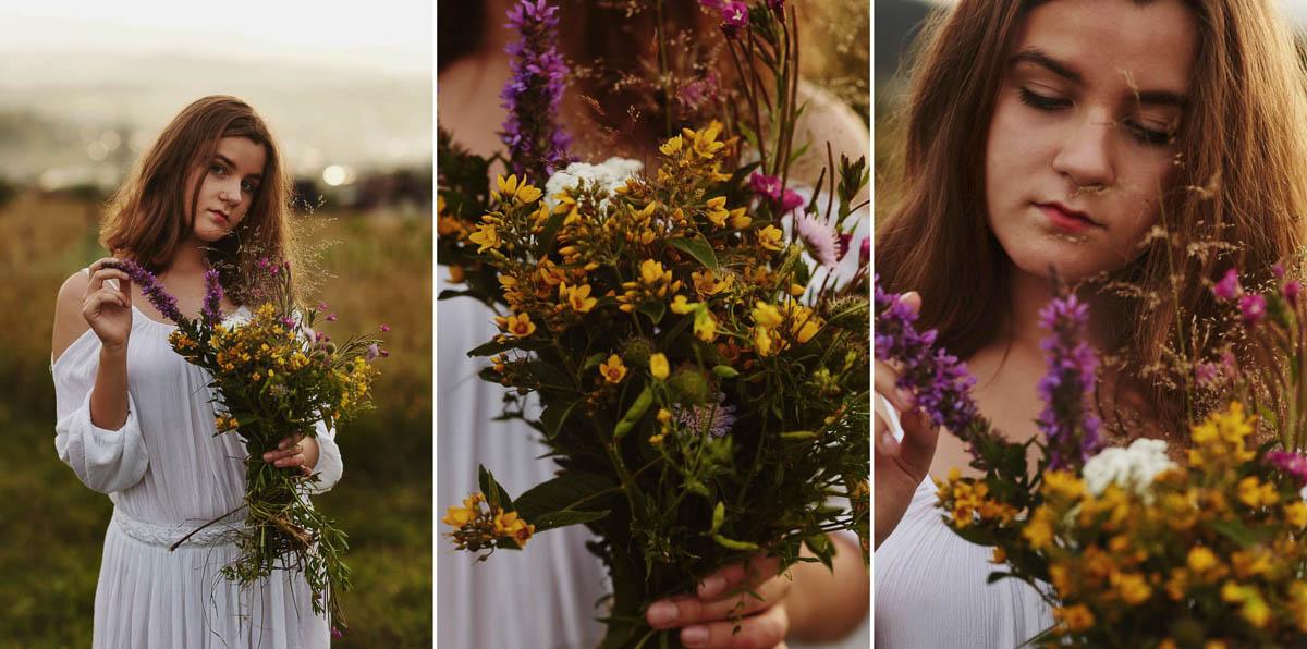 sesja rodzinna w górach - polne kwiaty