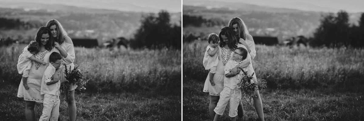 sesja rodzinna w górach - mama z dziećmi