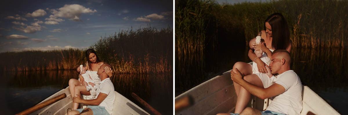sesja rodzinna Świnoujście - rodzice w łódce