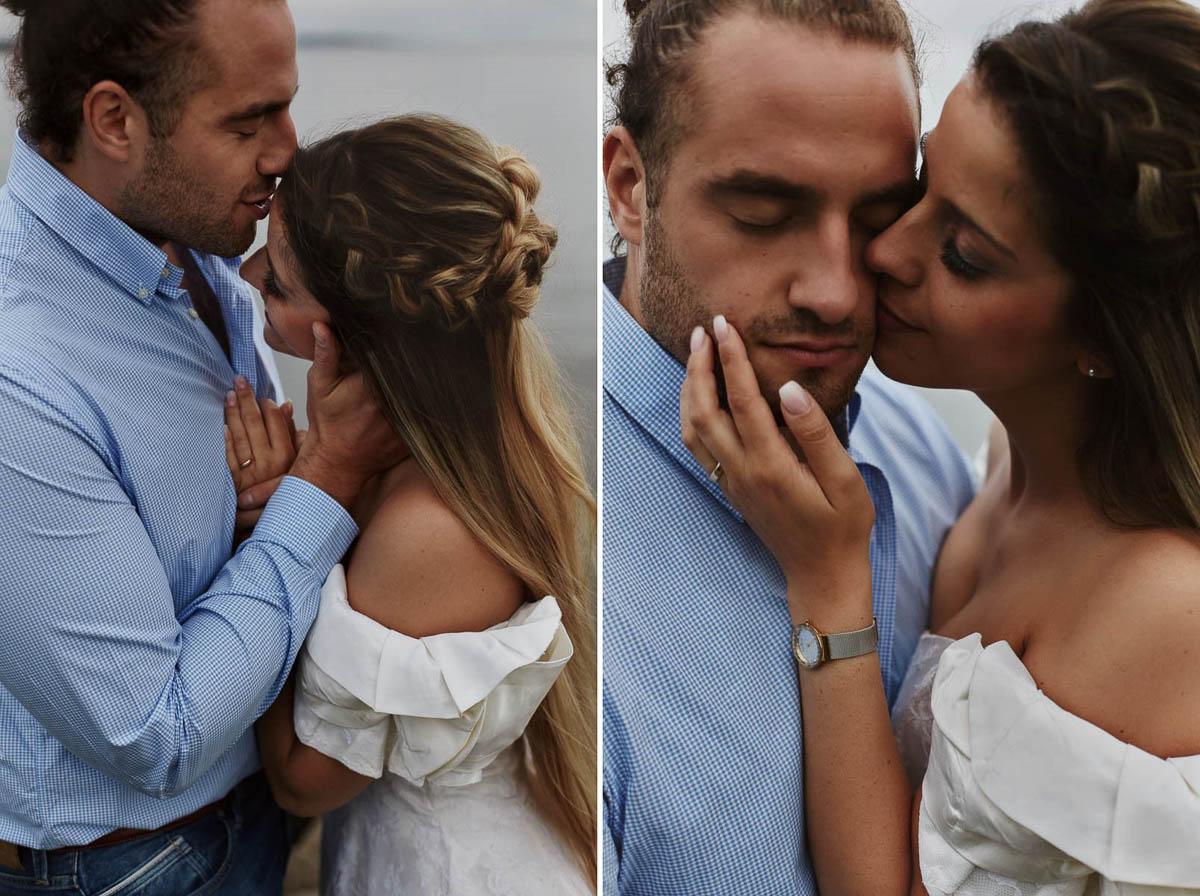 sesja narzeczeńska - delikatne pocałunek