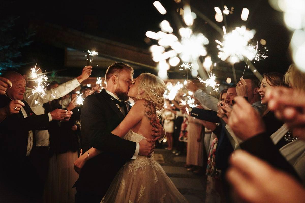 zimne ognie ślub rustykalny