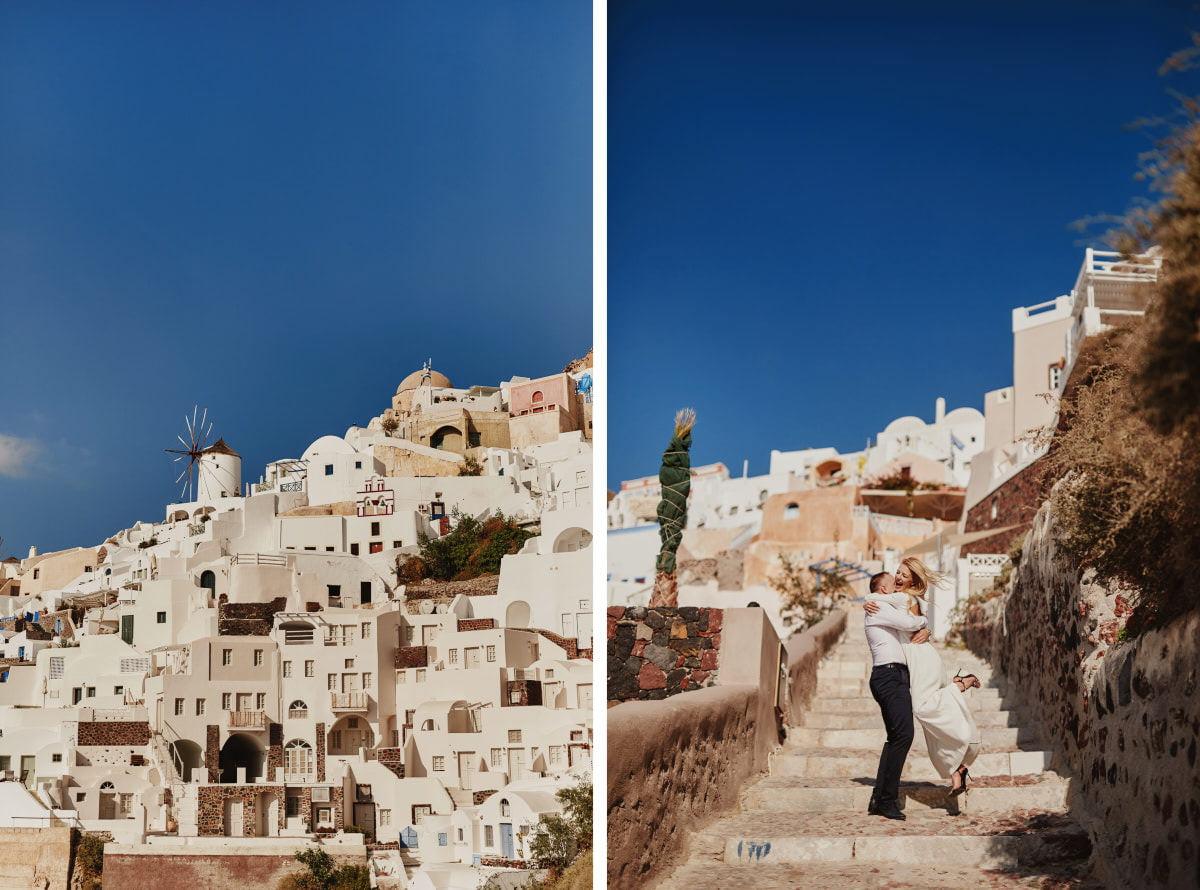sesja na schodach Santorini
