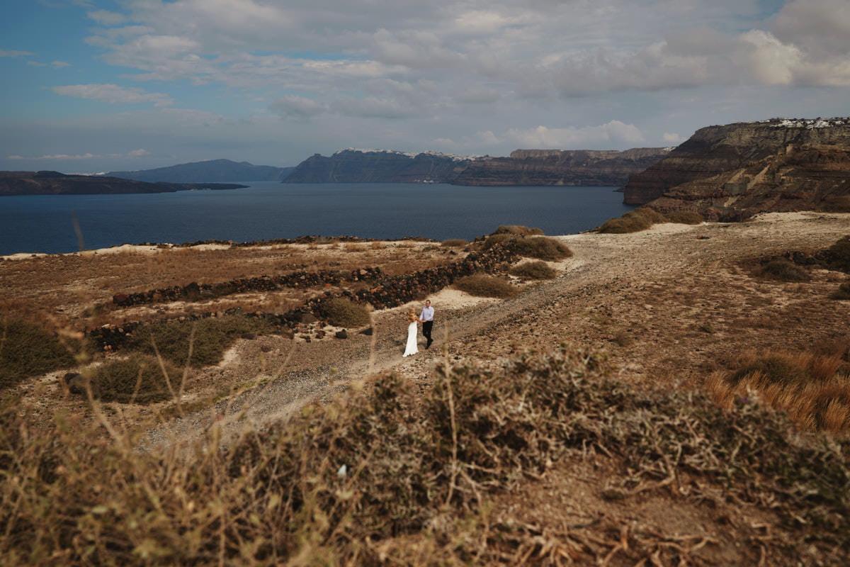 Plener ślubny Santorini widok z góry
