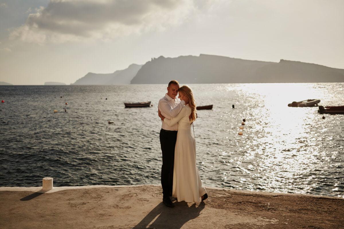 Plene ślubny na Santorini, plener nad morzem