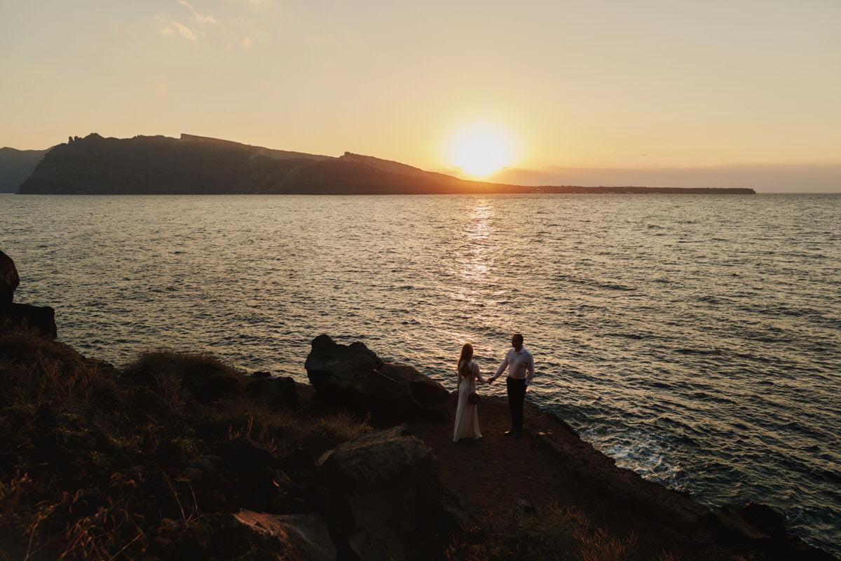 para nad morzem o zachodzie słońca