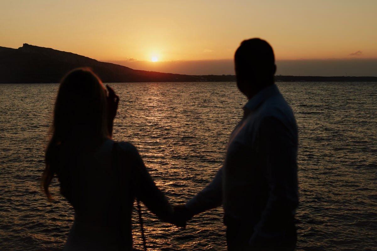 sesja ślubna za granicą - zachód słońca