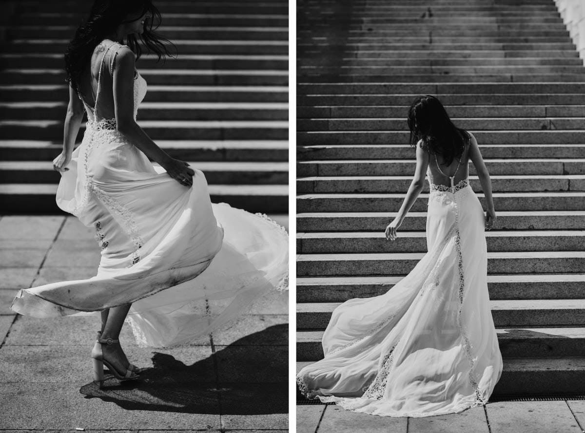 Mediolan - panna młoda na schodach
