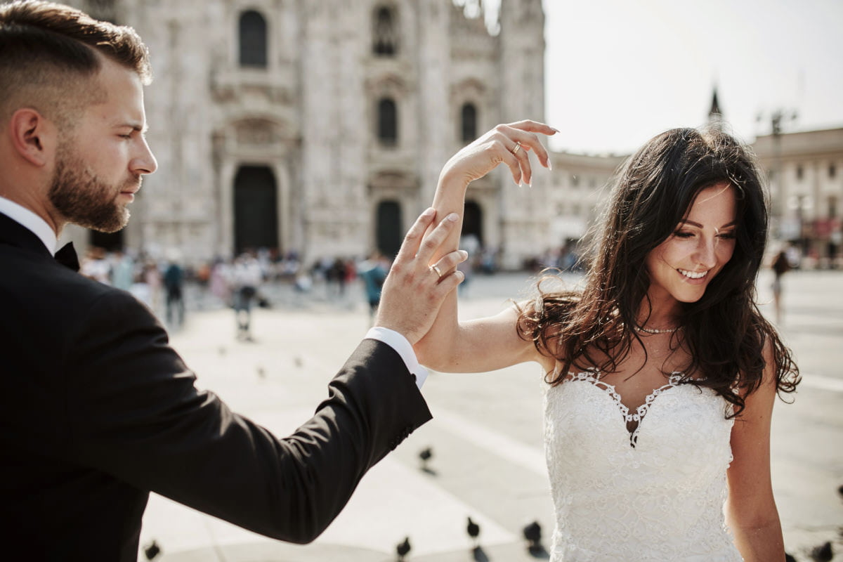 Mediolan - plener na placu Duomo